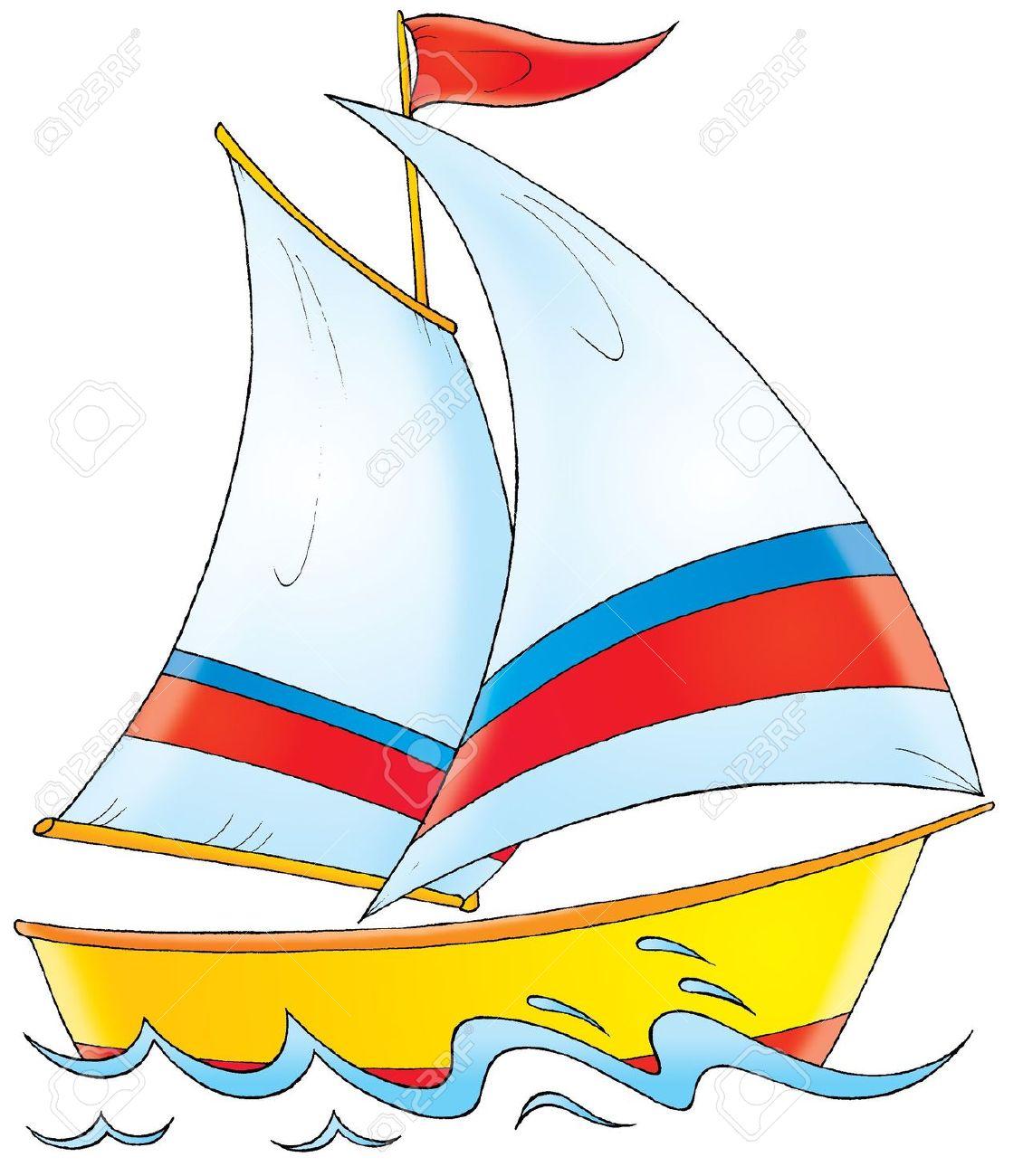 Yacht boat cartoon clipart .