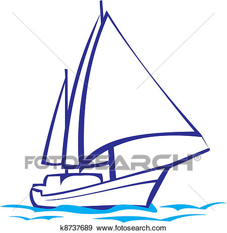 Clip Art - yacht silhouette - sea voyage-Clip Art - yacht silhouette - sea voyage. Fotosearch - Search Clipart,  Illustration Posters-12
