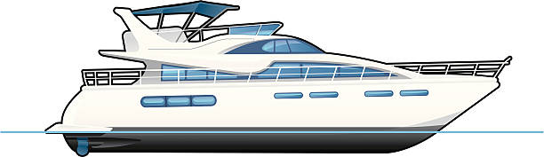 motor yacht vector art illustration