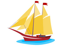 sailing boat with sails clipart. Size: 65 Kb