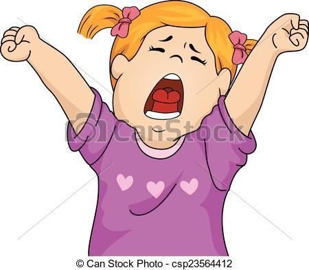 ... Yawning Girl - Illustration Featurin-... Yawning Girl - Illustration Featuring a Girl Letting Out a.-16