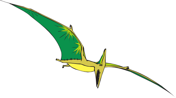 Yellow And Green Pterodactyl  - Pterodactyl Clipart