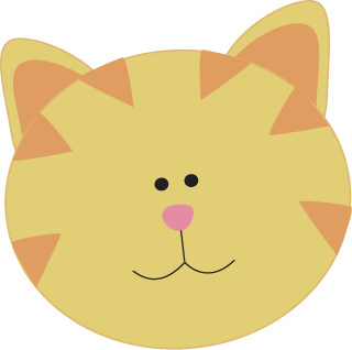 Yellow Cat Face Cute Yellow Cat Face With Orange Stripes A Pink