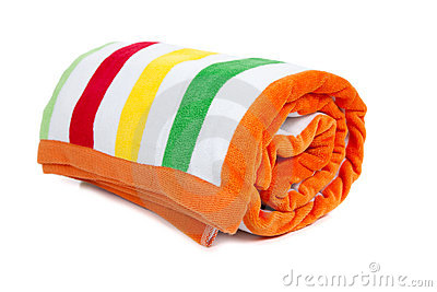 Yellow Green And Orange Striped Beach To-Yellow Green And Orange Striped Beach Towel On A White Background-16