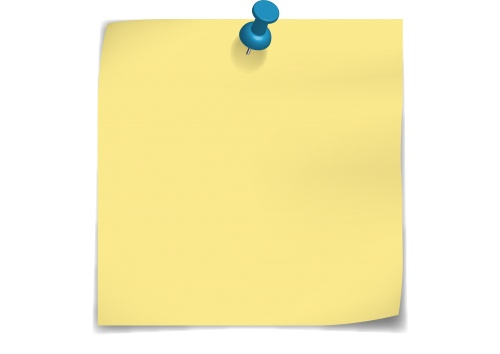 Yellow Post-It Note with Push- .