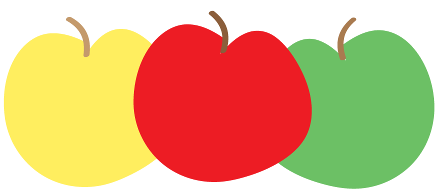 Yellow Red And Green Apple Clipart