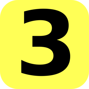 Yellow Rounded Number 3 Clip Art
