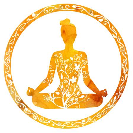 Vector silhouette of yoga woman in circle frame with bright orange texture  and floral ornament.