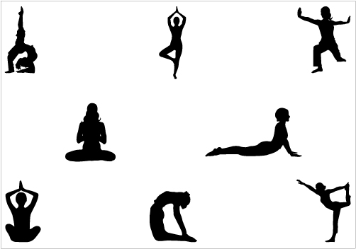 Yoga Silhouette Yoga Pose of Standing SittingSilhouette Clip Art