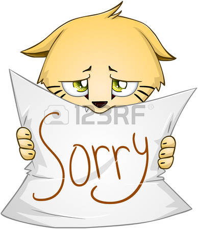 yom kippur: Vector illustration of a cute kitten holds sign of apology