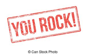 ... You Rock! Red rubber stamp on white.-... You Rock! Red rubber stamp on white. Print, impress,.-16