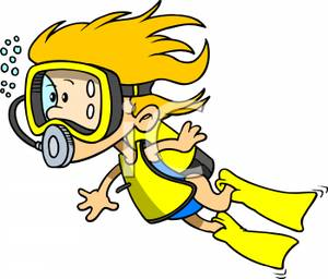 Young Girl Scuba Diving Royalty Free Clipart Picture 090618 126705