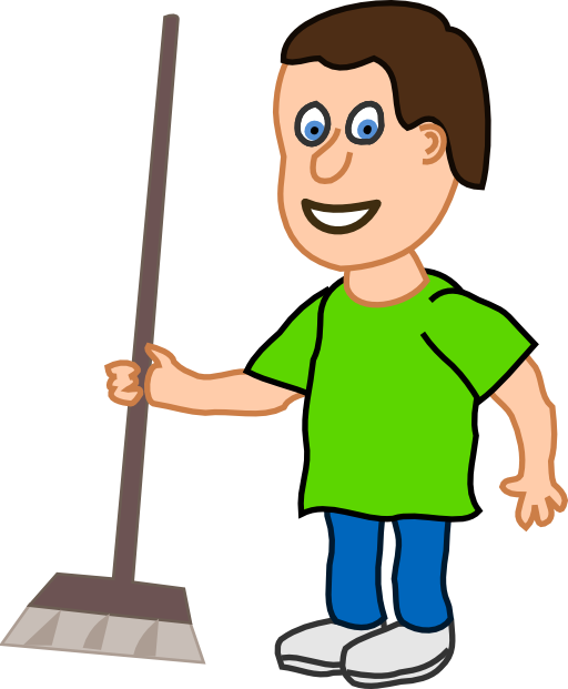 Young Housekeeper Boy With Broomstick Cl-Young Housekeeper Boy With Broomstick Clipart-19
