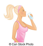 ... Young woman drinking water - Vector -... Young woman drinking water - Vector illustration of Young.-19