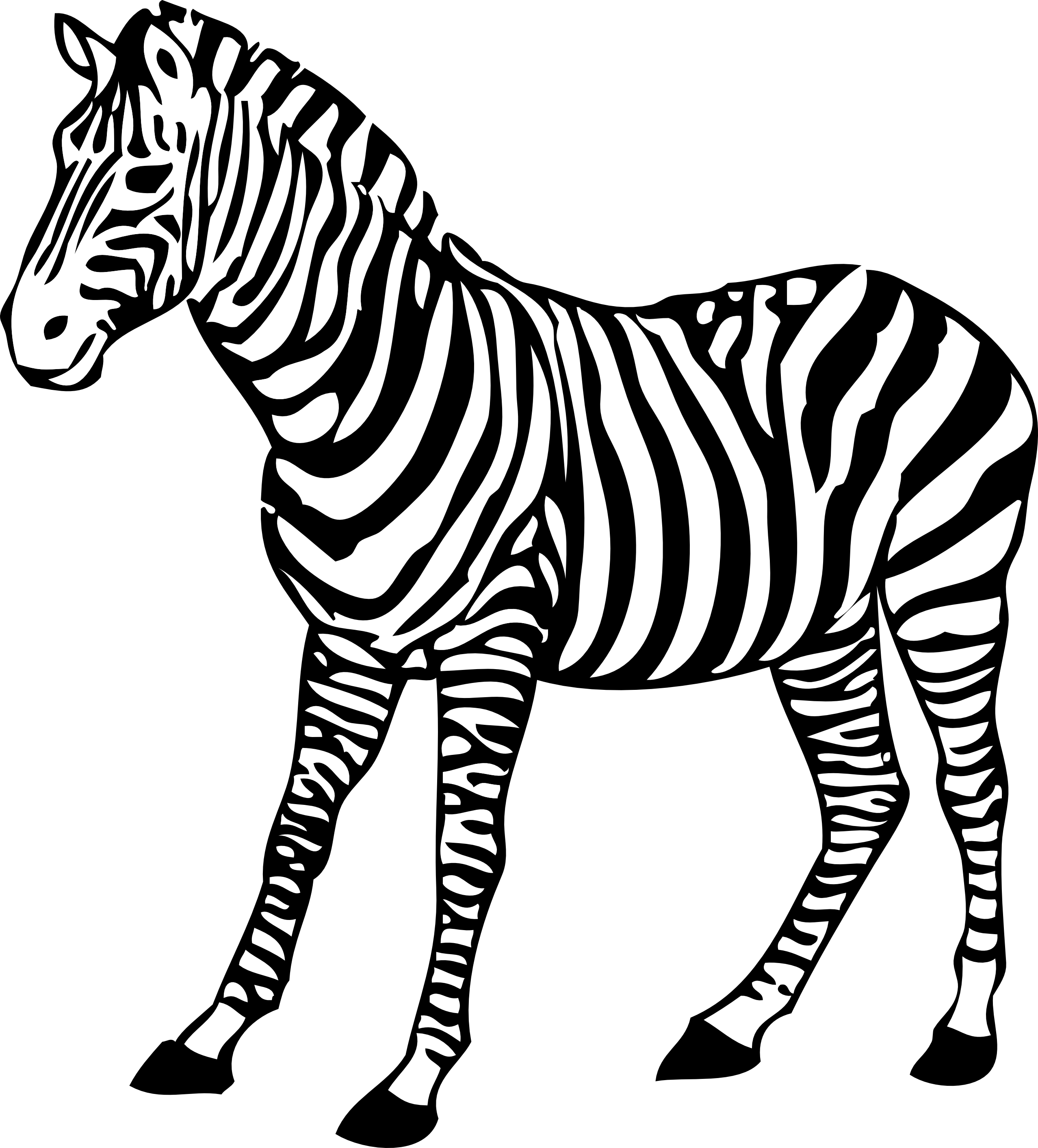 zebra clipart black and white