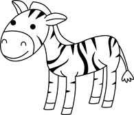 zebra black white outline - Zebra Clipart Black And White