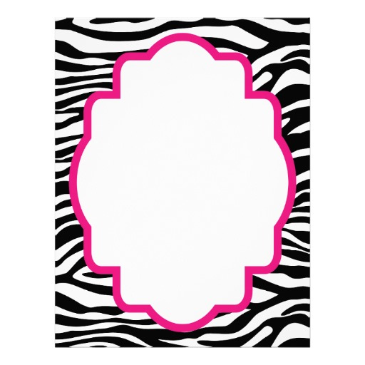 Zebra Page Borders Clipart #1. Trendy Zebra Print with Pink .