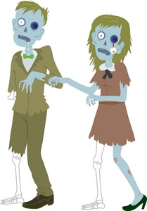 Zombie clipart image man and woman halloween costumes