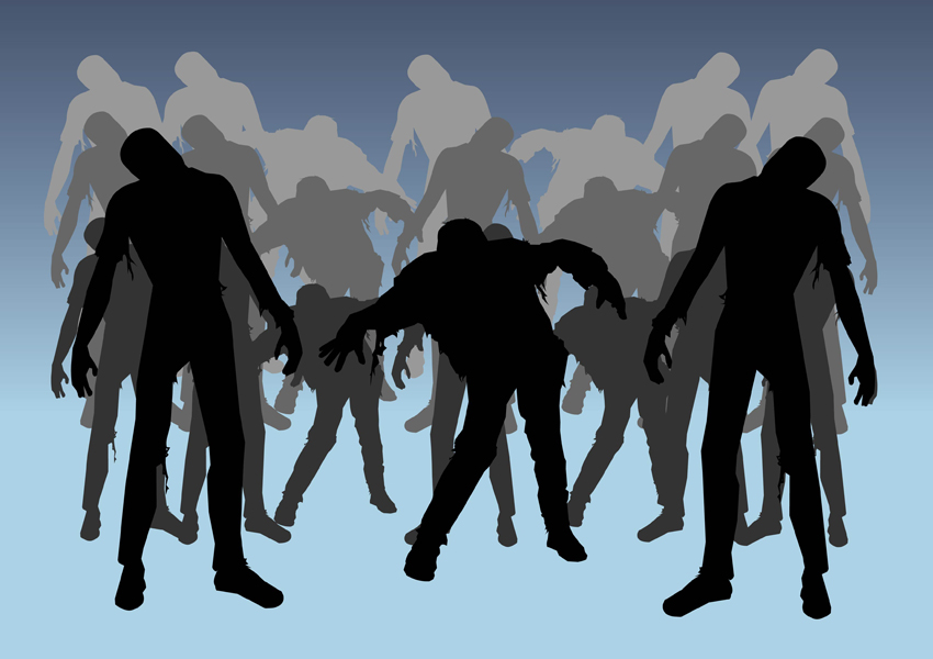 Zombie silhouette clipart kid