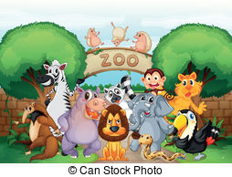 ... zoo and animals - illustration of zoo and animals in a... ...