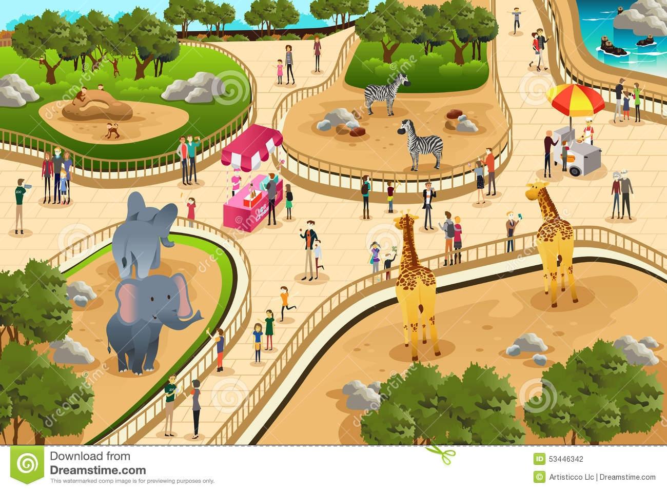 Zoo Animals Scene Clip Art ..-Zoo Animals Scene Clip Art ..-7