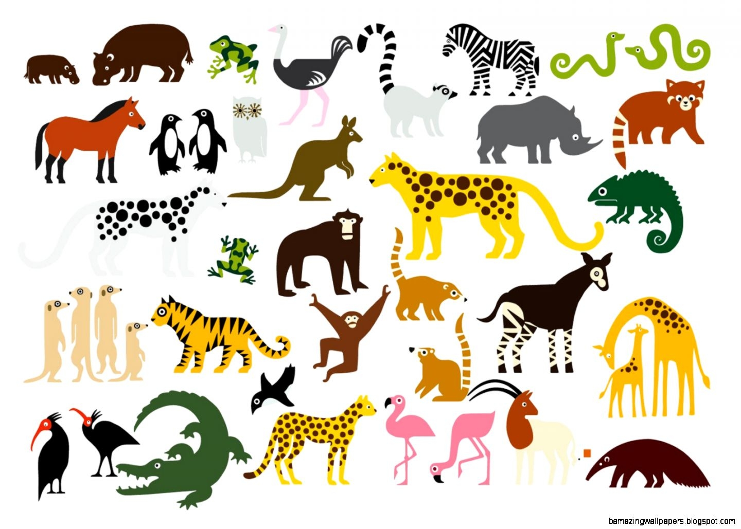 Zoo animals together clipart - .