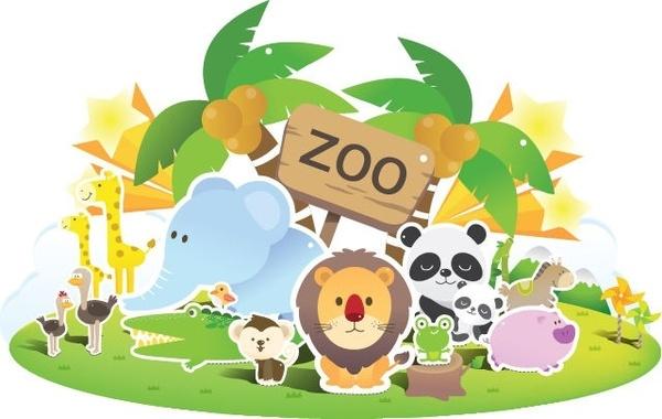 Zoo Cute Vector - Zoo Animal Clip Art