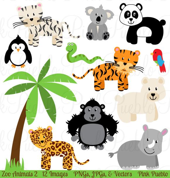 Zoo Jungle Animals Clipart Vectors Illus-Zoo Jungle Animals Clipart Vectors Illustrations On Creative-18