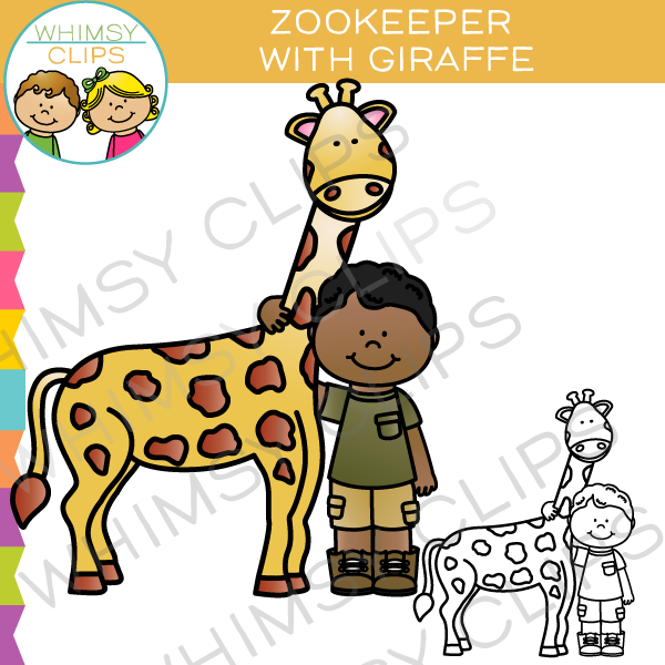 Zookeeper With Giraffe Clip Art