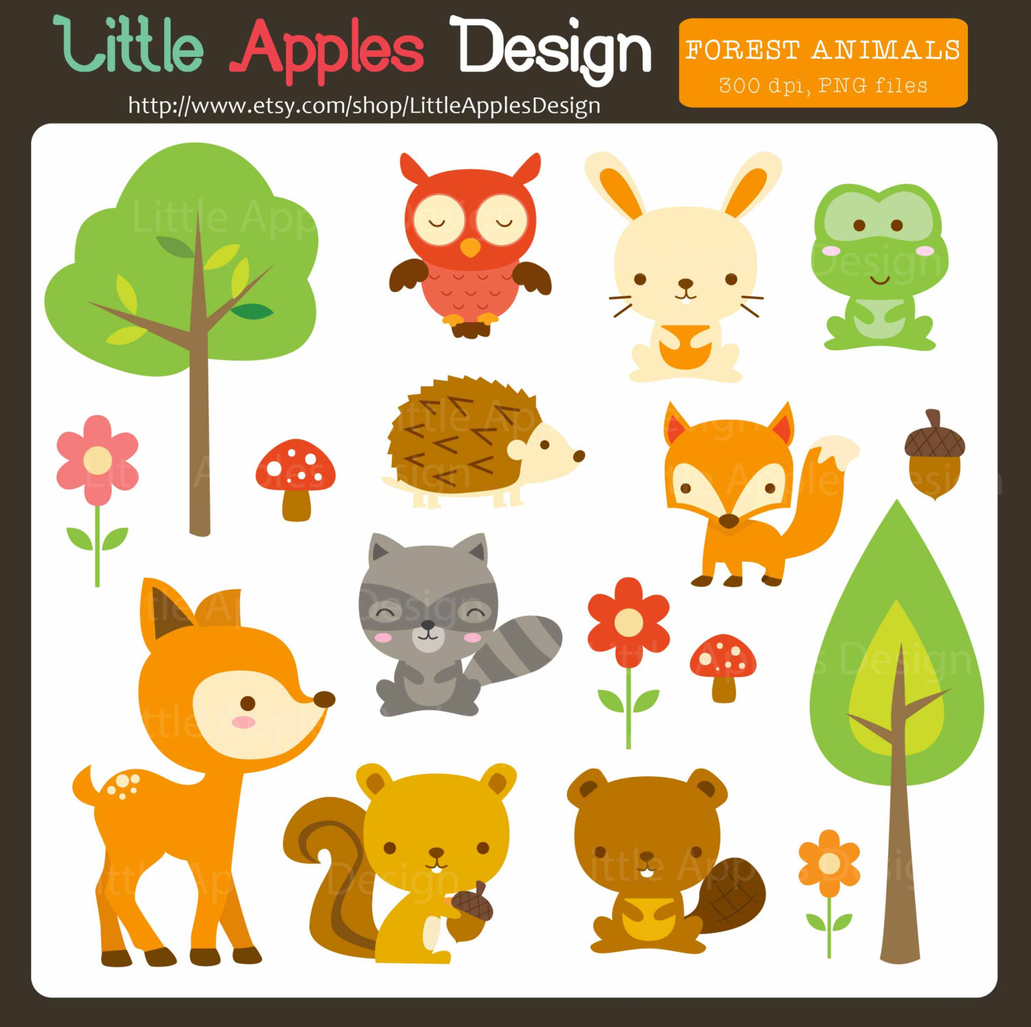 Woodland Animal Clipart--18