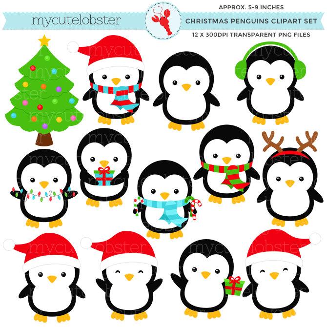 Christmas Penguin Clipart--19