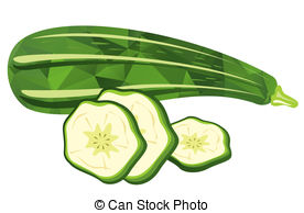 ... zucchini - Stylized zucchini and slices isolated on a white... ...